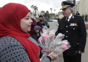 AlTahrir police flowers