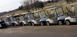 Golfing carts line